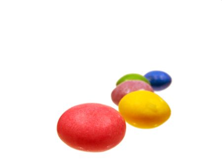 Colorful jellybeans close up shot with white background photo