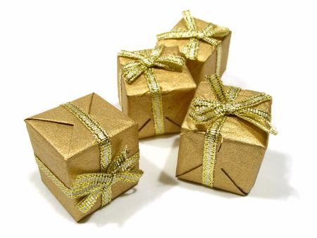 A photo of small isolated gift boxes photo
