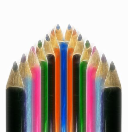 A fantasy photo of colorful drawing pencils photo