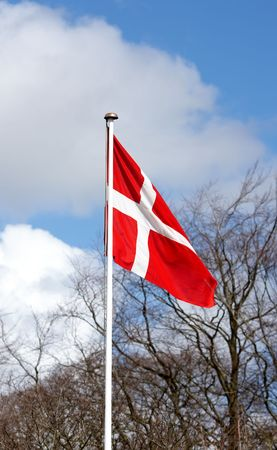 danish flag: The Danish flag an early morning in the spring Stock Photo
