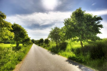 A Danish country road - a warm, early summer day photo