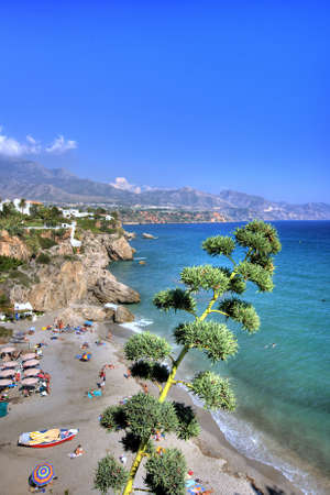 sol: A panoram beach photo a sunny day (Costa del Sol) Stock Photo