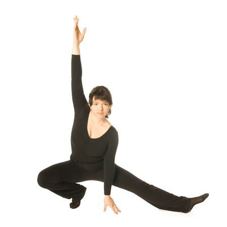 scenical: A young woman dancing jazz-modern in a scenical pose Stock Photo
