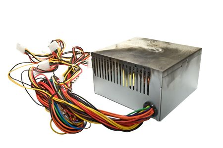 amperage: Power supply from PC, burnt due to jump voltage Stock Photo