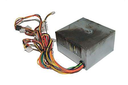 overheating: Power supply from PC, burnt due to jump voltage Stock Photo