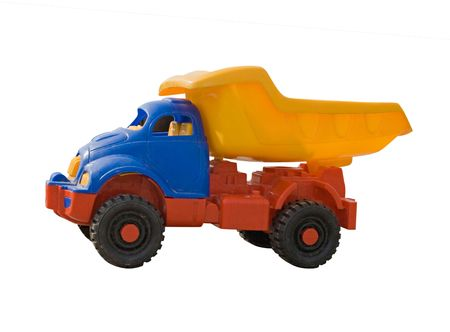 A toy truck, shot from floor level