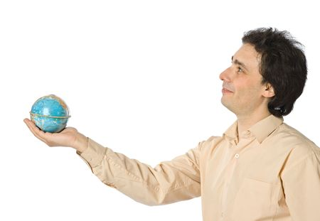 An isolated photo of a smiling man with a globe photo