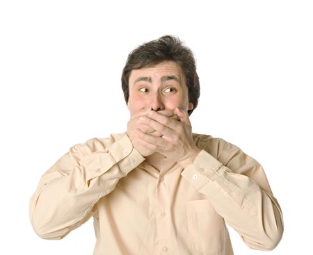 Man covering his mouth with hands, white background