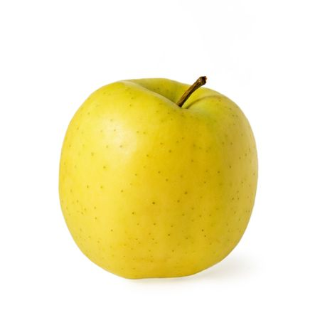 salubrious: Ripe yellow apple isolated over white