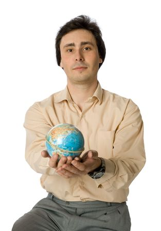 An isolated photo of a man with a globe photo