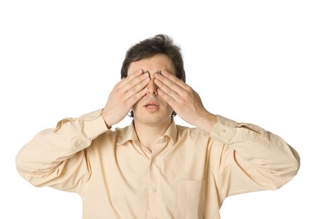 unsighted: A man covering his eyes with his hands Stock Photo