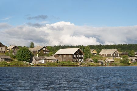 unkempt: Old Karelian village in Russia, view from water Stock Photo