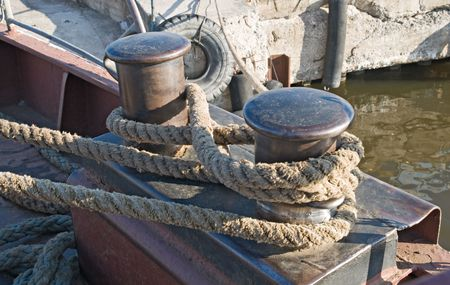 Landfast with rope on a ferry deck Stock Photo - 5592925