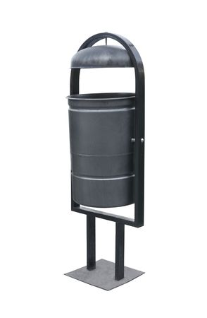 Black street dustbin isolated over white background Stock Photo