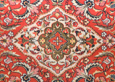 wool rugs: Red old-fashioned wall carpet in asian style