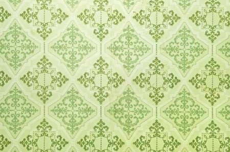 Old green wallpaper for texture or background Stock Photo