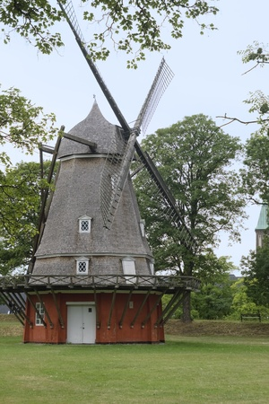 Old decorative windmill in Aalborg, Denmark