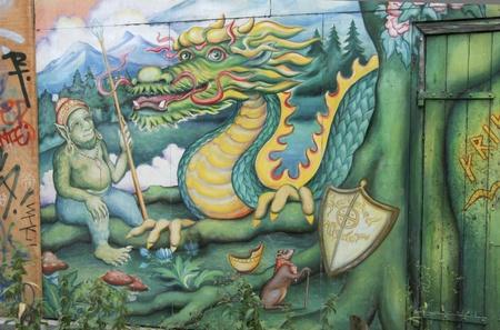 Fantasy graffiti in Christiania, freetown in Copenhagen Stock Photo - 11595813