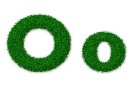 lowercase: Illustration of capital and lowercase letter O made of grass