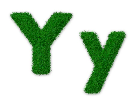 Illustration of capital and lowercase letter Y made of grass