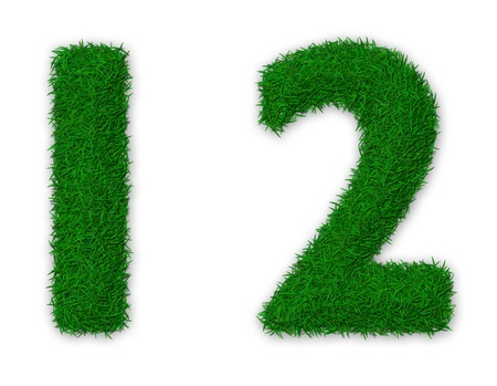 Illustration of numbers 1 and 2 made of grass