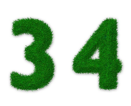 Illustration of numbers 3 and 4 made of grass illustration