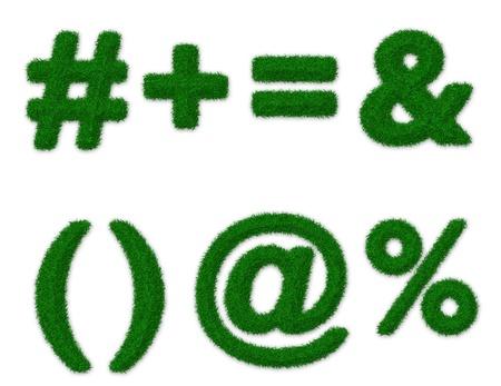 equals: Illustration of math symbols made of grass