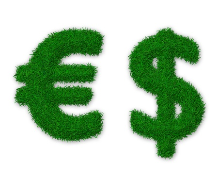 Illustration of euro and dollar signs made of grass illustration