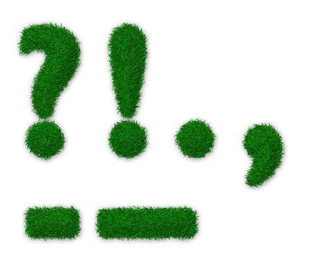 comma: Illustration of punctuation marks made of grass Stock Photo