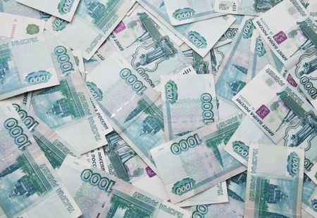 roubles: Background of thousand russian roubles bills, close-up