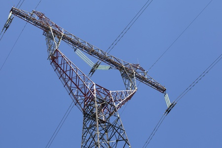 Power transmission tower, view from below photo