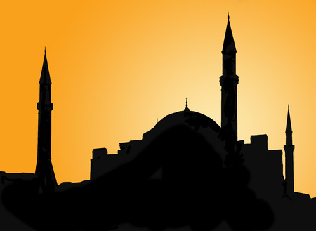 Silhouette of a mosque in Istanbul against evening sky photo