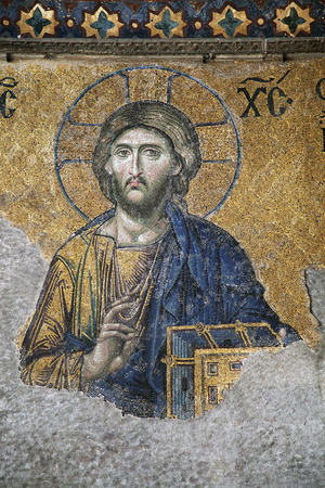 Mosaic of Jesus Christ in Hagia Sofia, Istanbul