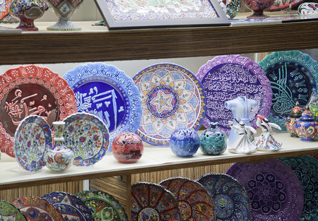 Traditional turkish souvenir plates on a shelf