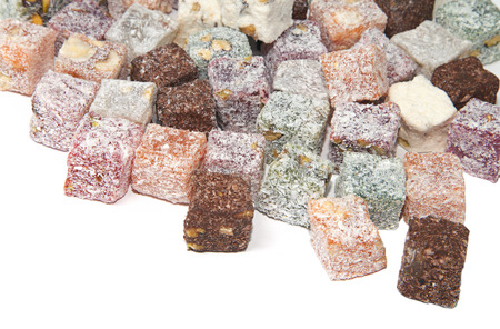 Turkish delight over white background, view from above Stock Photo
