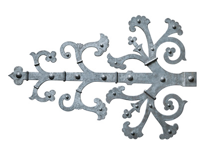 Decorative metal hinge isolated over white background