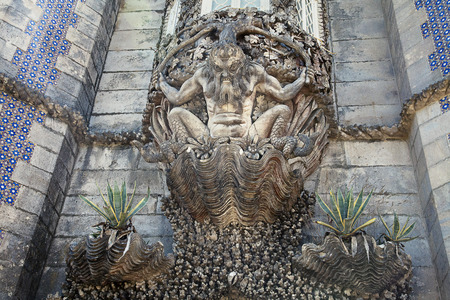 sea monster: Stone carving sea monster in Pena palace, Sintra, Portugal Editorial