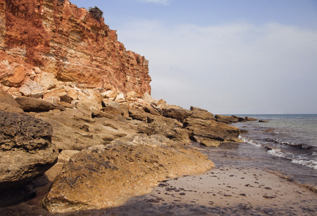 ebb: Sea coast and cliffs in Spain during the ebb Stock Photo