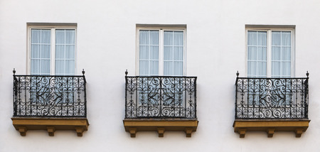 decorative balconies: Decorative balconies of a house in Seville, Spain