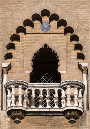 decorative balcony: Decorative balcony of a  medieval tower in Seville, Spain Stock Photo