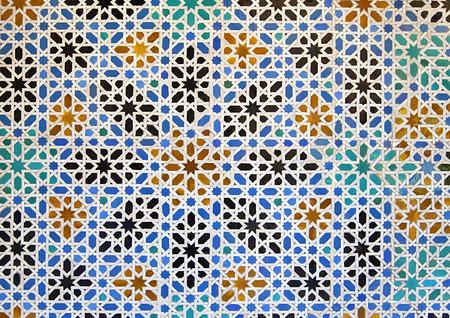 alcazar: Arabian mosaic in Alcazar palace, Seville, Spain Stock Photo