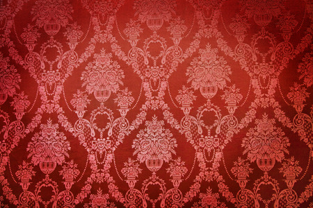 wall covering: Old red textile wall covering in a palace