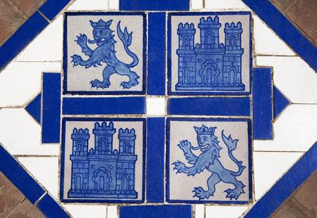 encaustic: Floor tile with heraldic symbols of Leon and Castile, Spain