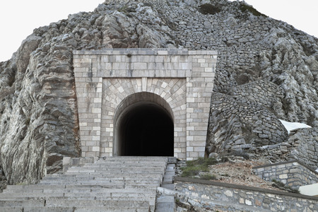 the entering: Entering to the tunnel to mausoleum of Prince Mirko  of Montenegro Stock Photo