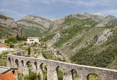 old buildings: Ruins of an aqueduct in Old Bar (Stary Bar), Montenegro Stock Photo