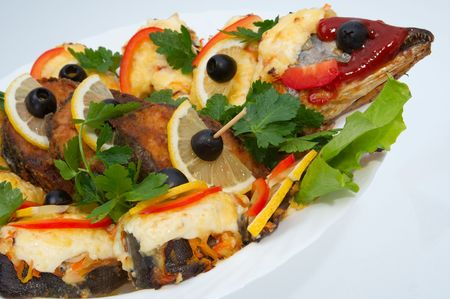 The dish from a fried fish possesses high nutritional value Stock Photo