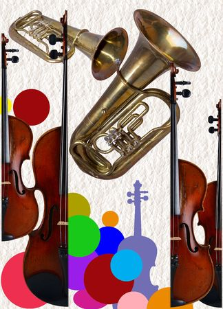 Musical instruments happen string and wind photo