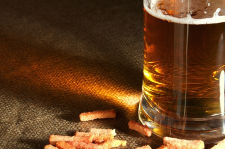 injurious: It is impossible to drink a lot of beer, it is injurious to health! Stock Photo