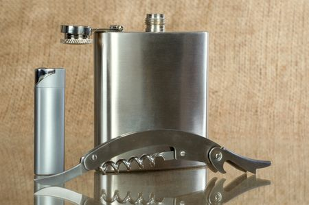 Small metal flask for carrying alcohol photo