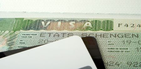 Stamp in the passport about opening of the visa in the Schengen zone for travel to France photo